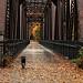 Rainy day walk across the footbridge