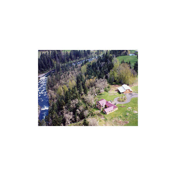 Aerial view of the house overlooking the Hood River