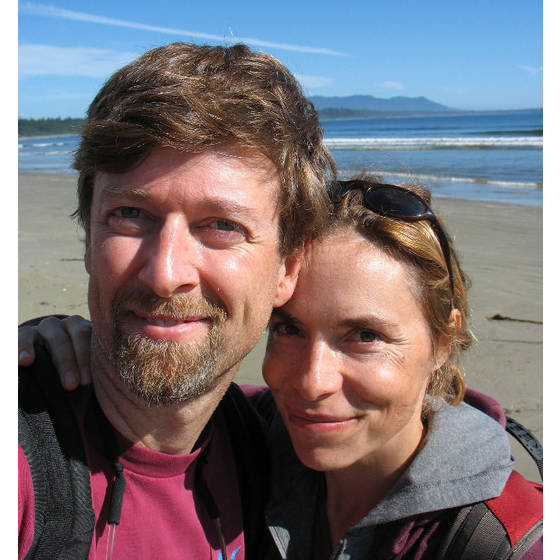 Beside the Pacific Ocean, at Tofino, British Columbia. After hiking the gruelling West Coast Trail we treated ourselves to some R and R.