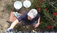 Jon repairing the window grid.