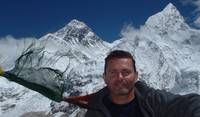 Everest over my right shoulder, taken from the top of Kala Pataar.