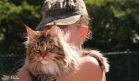 Mirabelle with Elodie, one of ten beautiful Maine Coons we looked after in Alsace for 13 months.